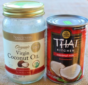 Spectrum organic virgin coconut oil and Thai Kitchen unsweetened coconut milk are available in many supermarkets