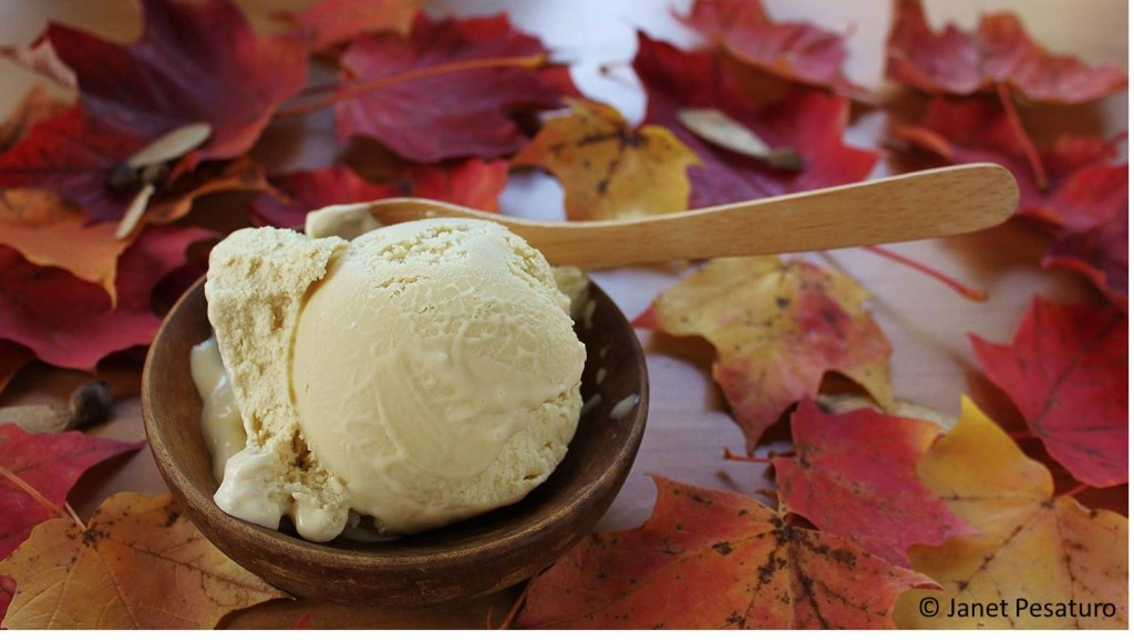 Maple ice cream made with maple sugar