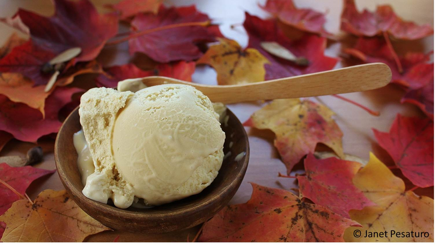 Maple ice cream made with pure maple sugar -