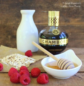 Raspberry Ice Cream with Oats and Honey. Healthful and delicious ingredients.