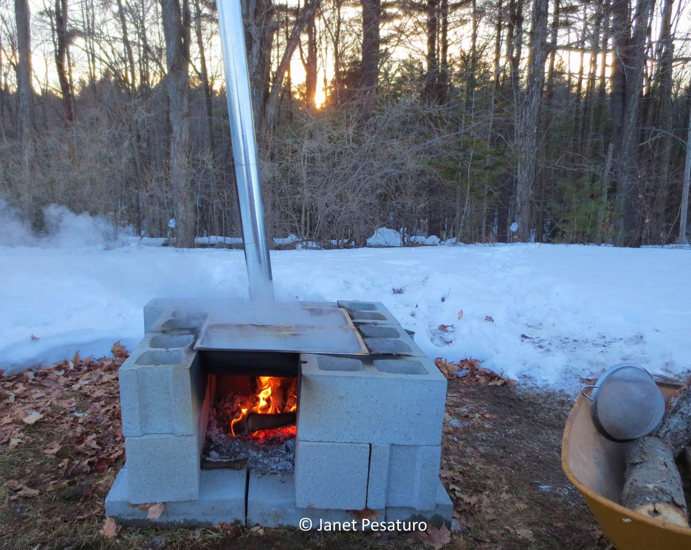 Maple sap evaporator made of concrete blocks, buffet pans, and HVAC duct  pipe - How To Make Maple Syrup II: Boiling, Filtering, Canning, Color, And